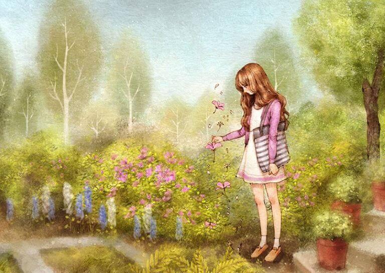 ragazza triste che raccoglie fiori