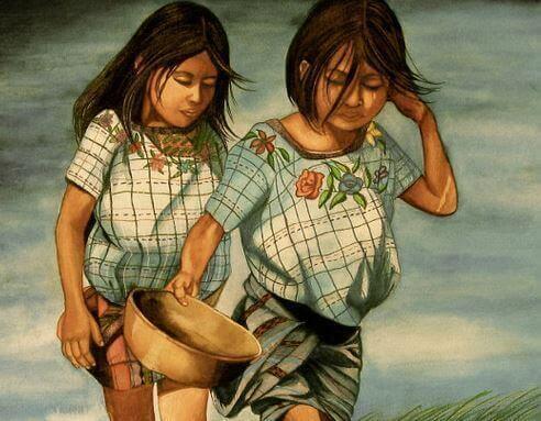 sorelle con cesta in mano