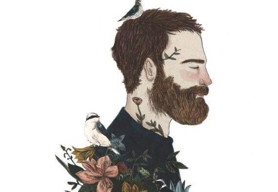 testa di uomo, uccelli e fiori