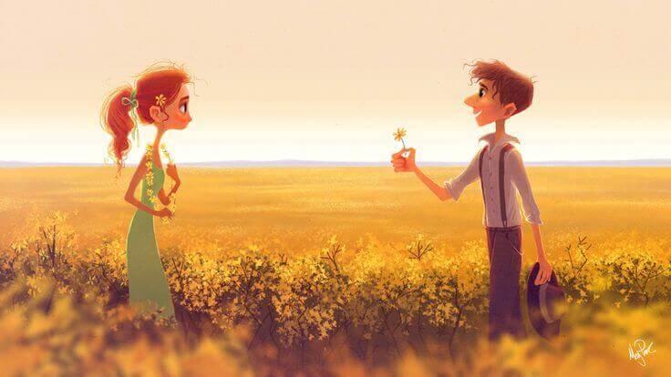 uomo coglie fiore e lo regala alla sua fidanzata