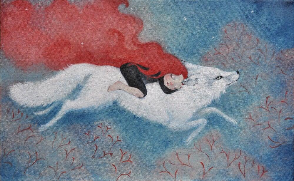 Donna-con-un-lupo