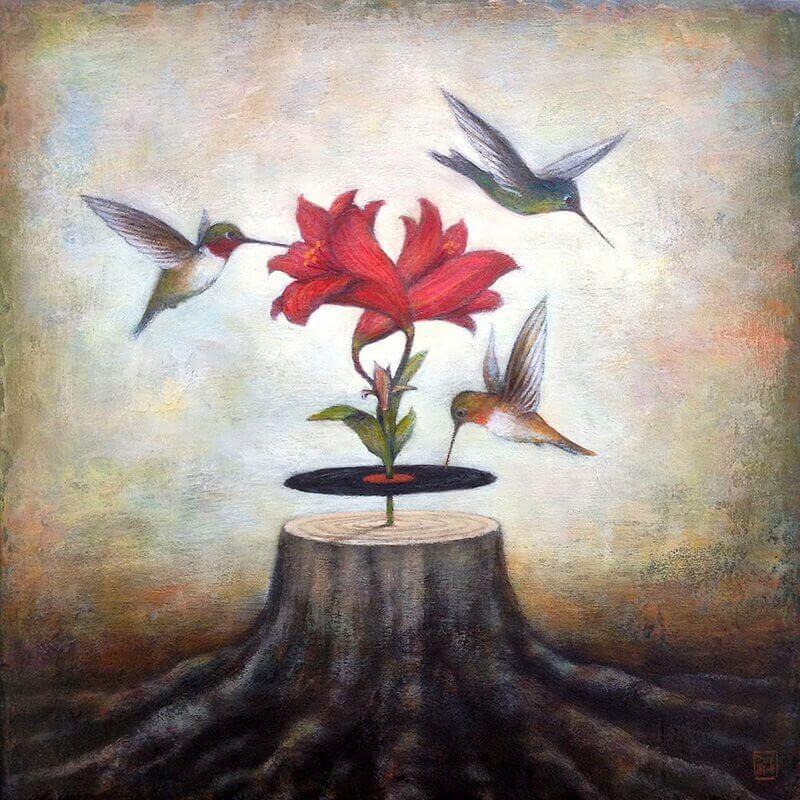 Uccelli-che-volano-intorno-a-un-fiore