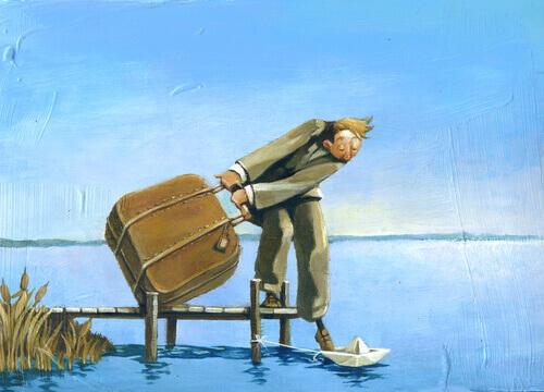 Uomo-con-valigia-e-un-piede-su-una-barchetta-di-carta