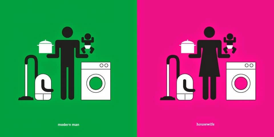 donna e uomo faccende domestiche