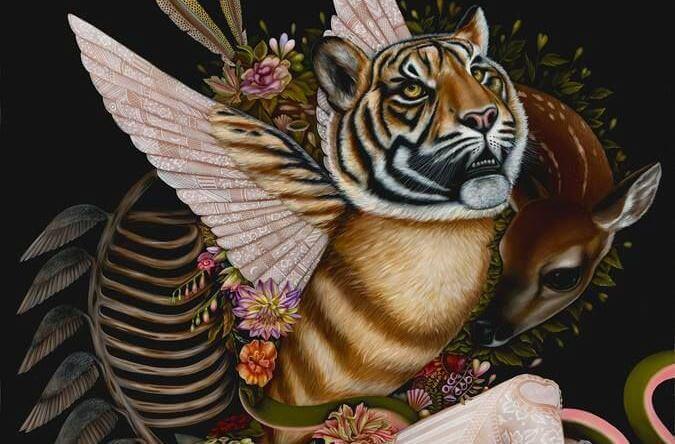 cerbiatto, tigre alata e fiori