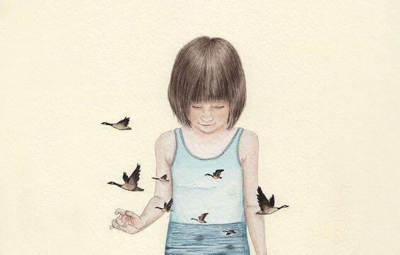 bambina-circondata-da-uccellini