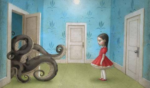 bambina-guardando-mostro-uscire