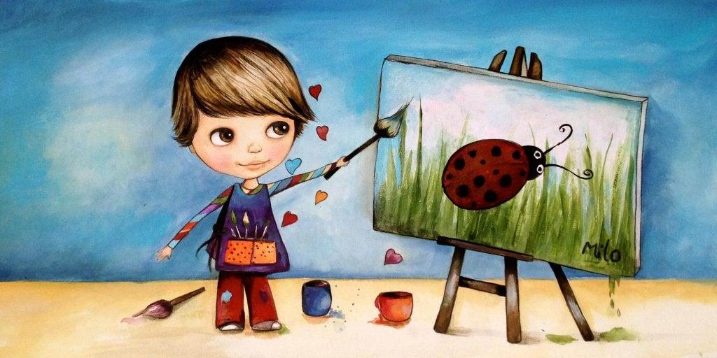 bambino dipinge coccinella
