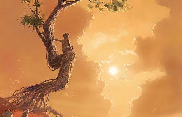 bambino guarda l'orizzonte seduto su un albero
