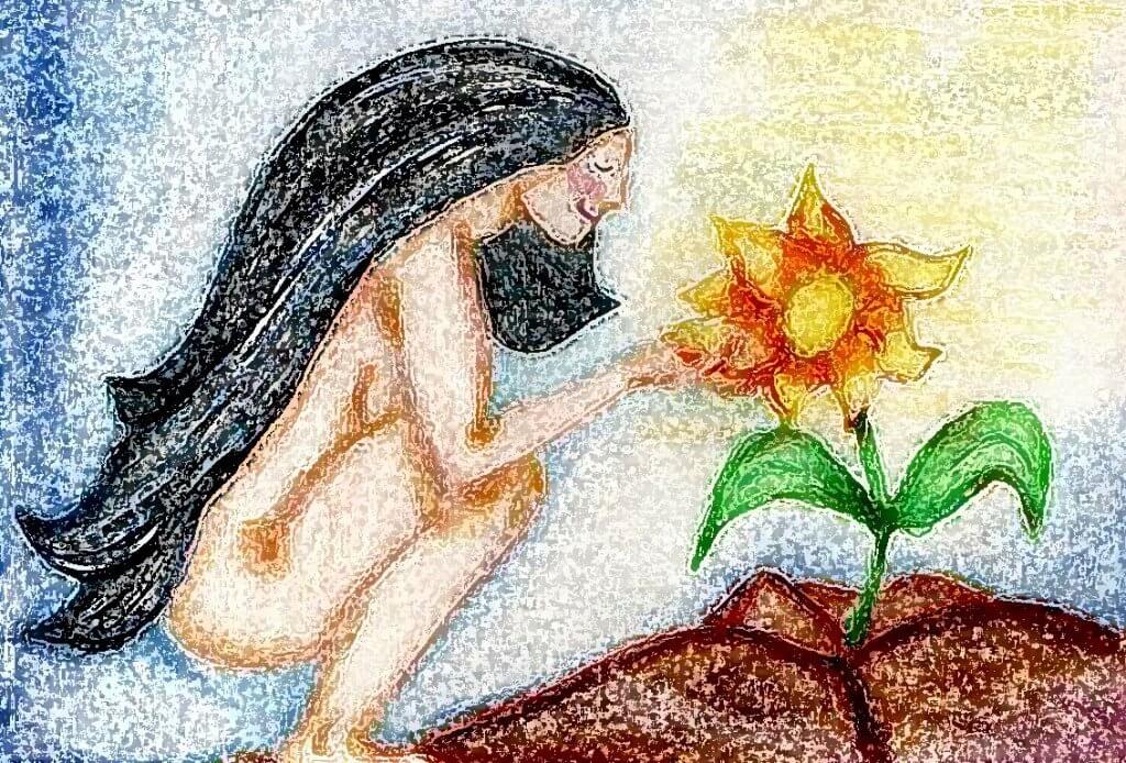 donna nuda davanti ad un girasole