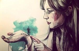 donna con uomo nella mano- gli altri