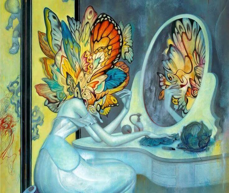 donna-testa-farfalla