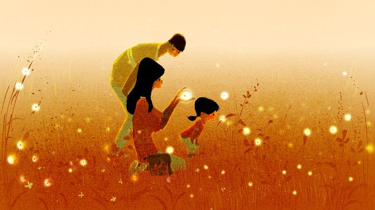 famiglia felice in un campo di lucciole