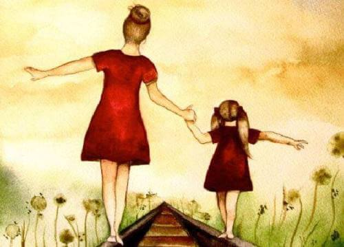 mamma e figlia mano nella mano