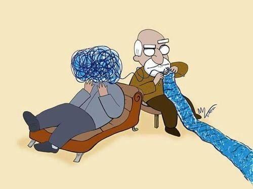 psicoterapia psicologo e paziente sdraiato su divano