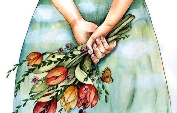ragazza con mazzo di fiori gesti affettuosi