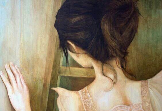 ragazza di spalle lacrime