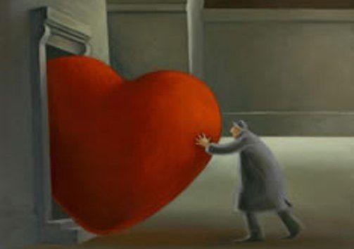 uomo spinge cuore dalla finestra