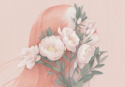 viso di donna coperto da fiori