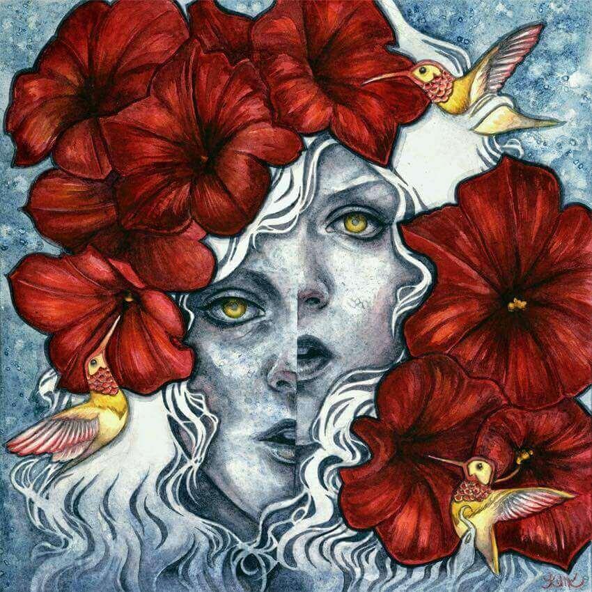 viso sdoppiato, fiori rossi e uccelli