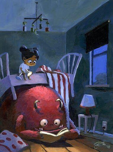 Bambina nel letto con mostro