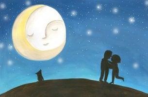 A cosa serve l'amore?  Coppia alla luce della luna
