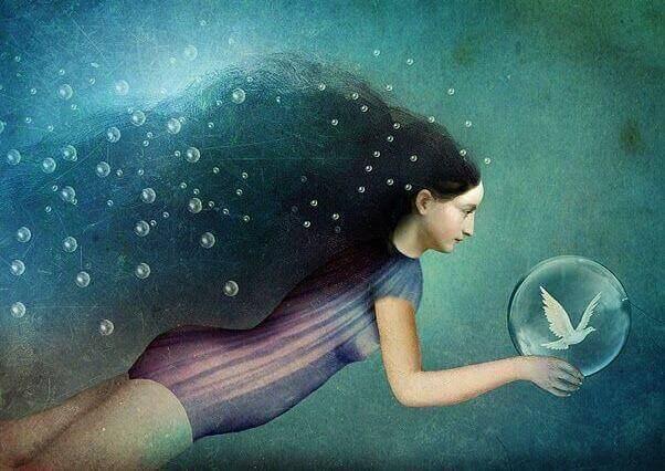 Donna sott'acqua