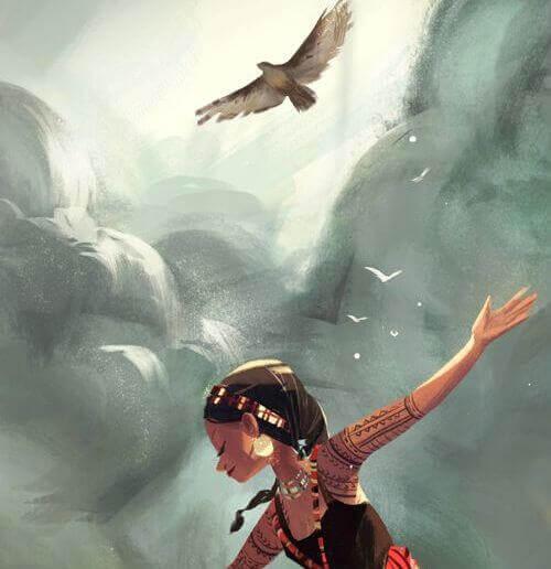 bambina con uccello