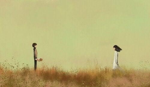 ragazzo e ragazza lontani