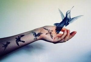 uccelli tatuati sul braccio fuoriescono e volano