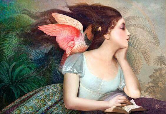 amor-proprio-donna-con-uccello-sulla-spalla