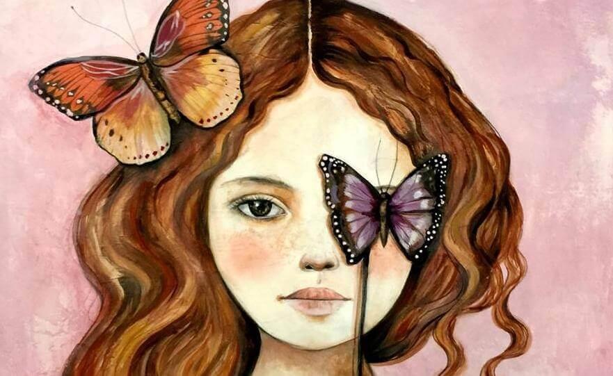 bambina con farfalla