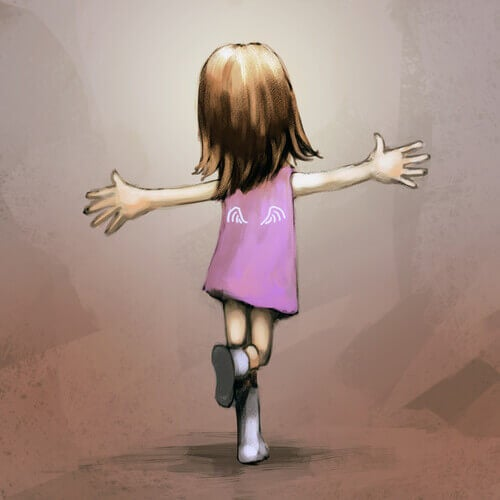 bambina con le braccia aperte essere felici