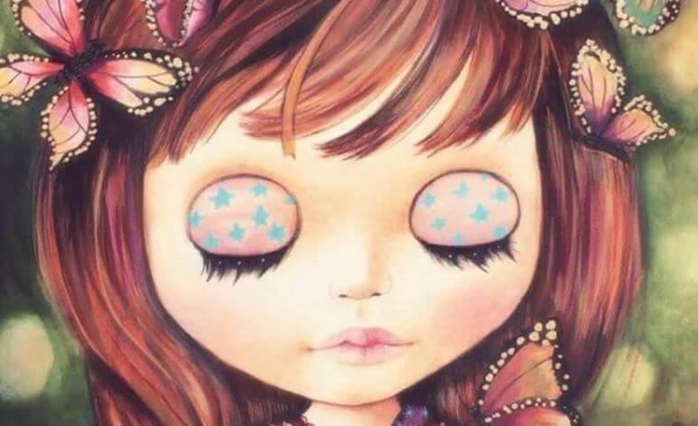 bambina con occhi chiusi