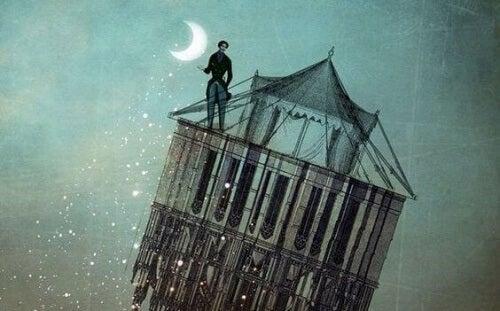 uomo sul tetto di un edificio
