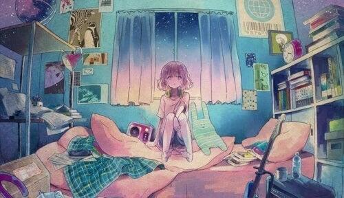 ragazza camera da letto con poster