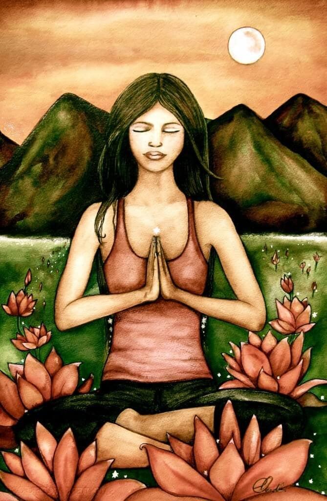 donna seduta che medita