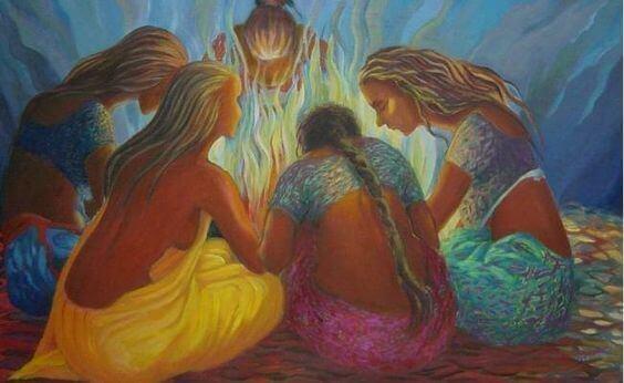 donne intorno ad un fuoco