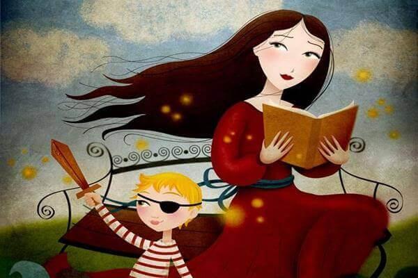 madre con figlio leggendo