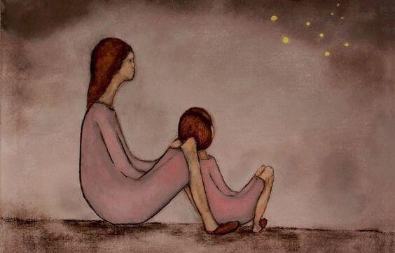 mamma con figlia guardano le stelle