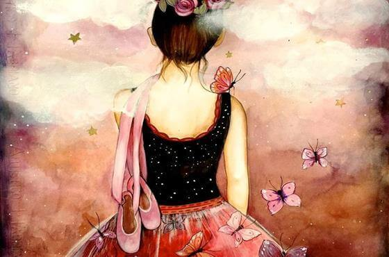 ragazza di spalle con farfalle
