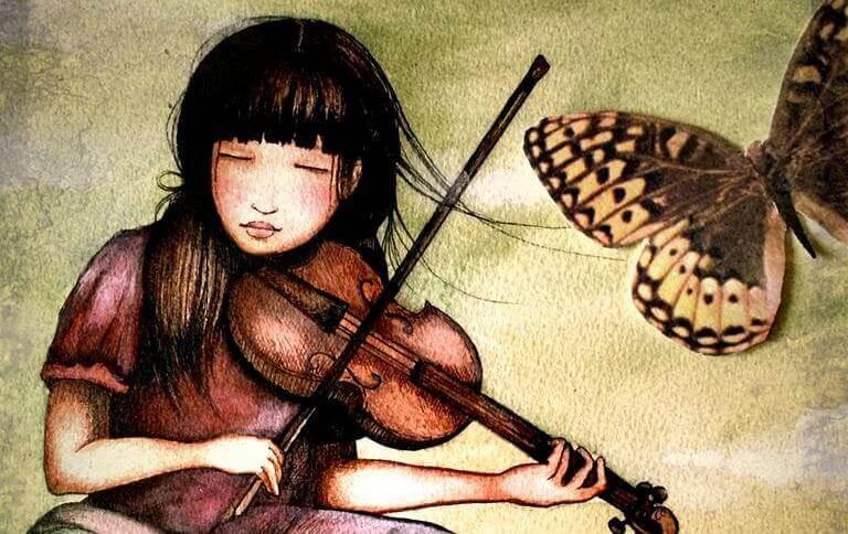 ragazza suona violino e farfalla