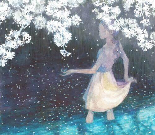 ragazza tra i fiori di ciliegio