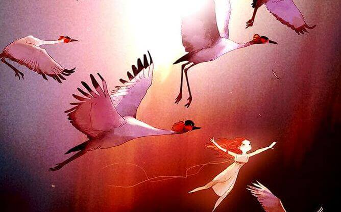 ragazza vola con uccelli le persone