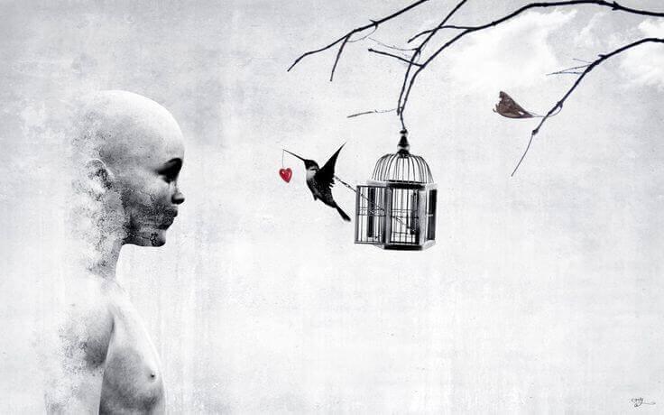 ragazzo bianco con uccello