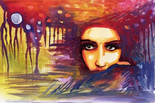 viso donna sfondo stilizzato