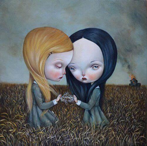 sorelle-tristi-e-sole-in-un-campo