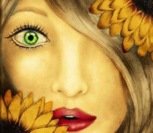 viso di donna e girasoli