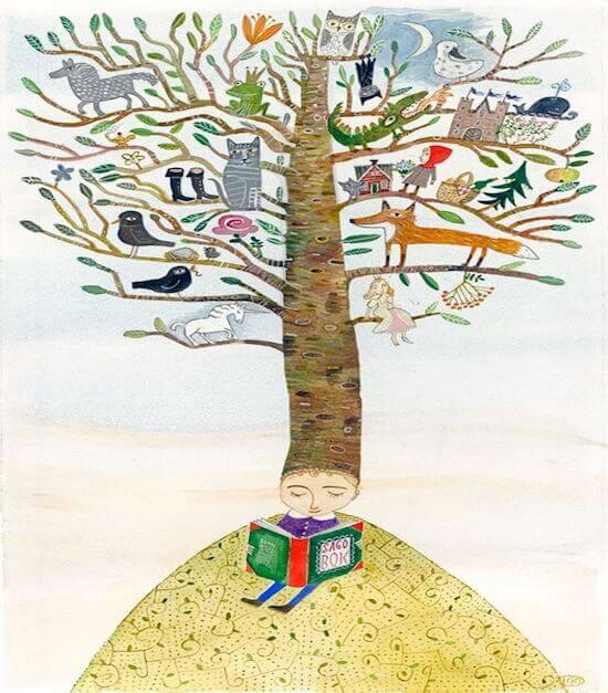 un bambino legge-sotto-un-albero