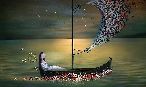 Barca che naviga fino alla morte